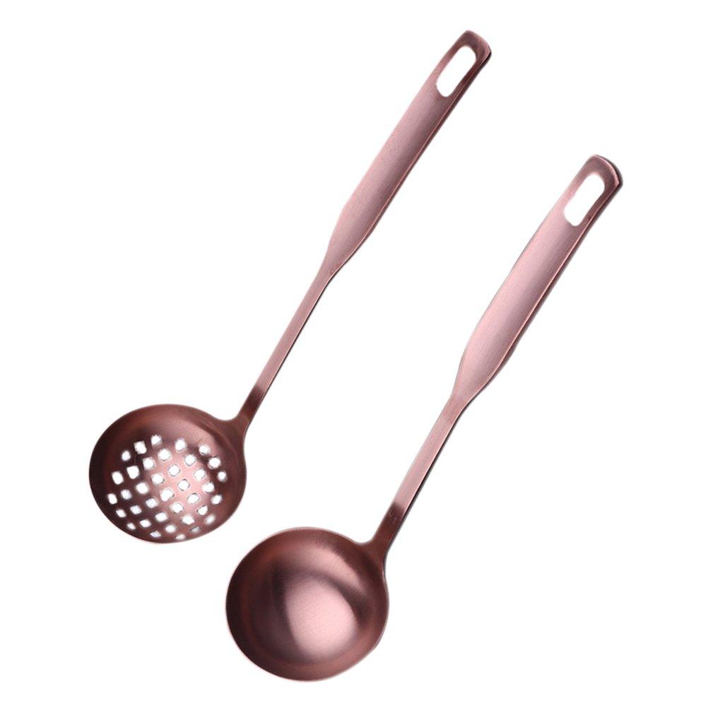 bestonzon 2 Pcs Suppenlö ffel Hot Pot Fat Schaumlö ffel, Menuelö ffel, Servieren Lö ffel Set, Mesh Sieb, Kü che Geschirr Kochen Tools (Rose Gold)