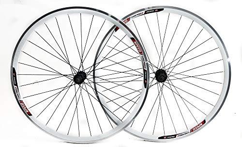 Stay-Tru Speed Aero 700c Road Bike Double Wall Alloy Wheelset 8-10 Speed White QR New