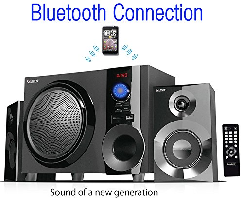 Boytone BT-210FB Wireless Bluetooth Stereo Audio Speaker with Powerful Sound, Bass System, Excellent Clear Sound & FM Radio, Remote Control, Aux-In Port, USB/SD/for Phones, Laptops, Black, 30 W