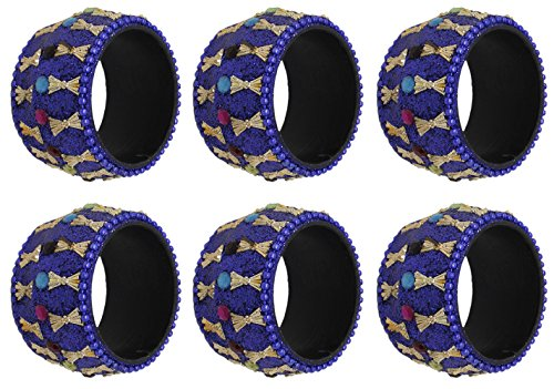 (SKAVIJ Handmade Modern Blue Decorations Napkin Rings Set of 6 for Home Kitchen Dining Room Table)
