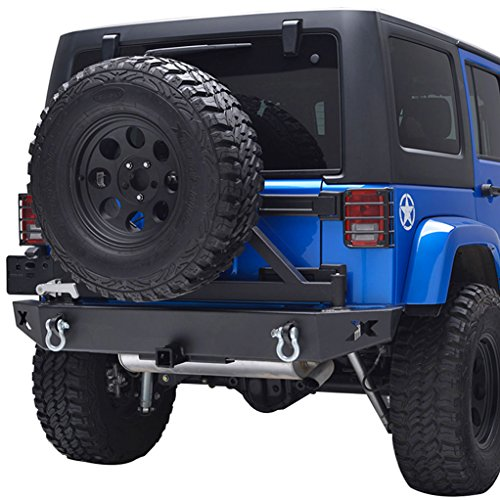 E-Autogrilles Rear Bumper with Tire Carrier for Jeep Wrangler JK