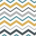 WallsByMe Peel and Stick Orange and Grey Chevron Removable Wallpaper 7372
