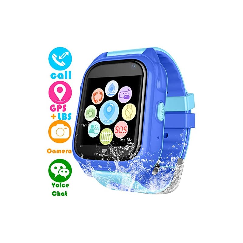 Kids Waterproof Smartwatch with GPS Tracker - Boys & Girls IP67 Waterproof Smart Watch Phone with Camera Games Sports Watches Back to School Supplies Grade Student Gifts (02 S8 Blue GPS+WP)