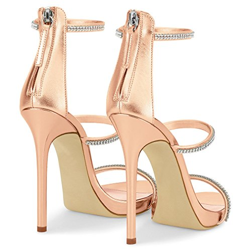 Court Pumps Toes LUCKY Shoes Gold Open EU46 Dating A Rhinestone Women Party Wedding Dress Office Heels Bride Sandals Shoes High CLOVER Colour Gold Rose Avq8AF