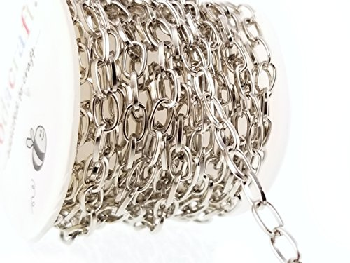 Platinum Antique Silver Cable Chain Spool For Jewelry Making - Hypoallergenic (4mm x 7mm) 4.5mm from Sodacraft