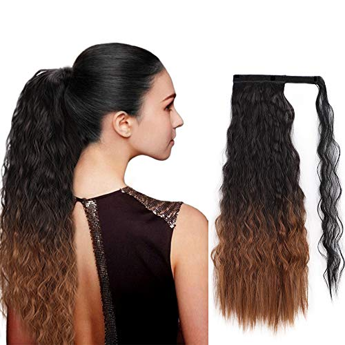 AISI BEAUTY 22 Inch Ombre Two Tone Synthetic Long Yaki Ponytail Extension for Women Wrap Around Magic Paste Hair Piece And Ponytail (R1B/30) -