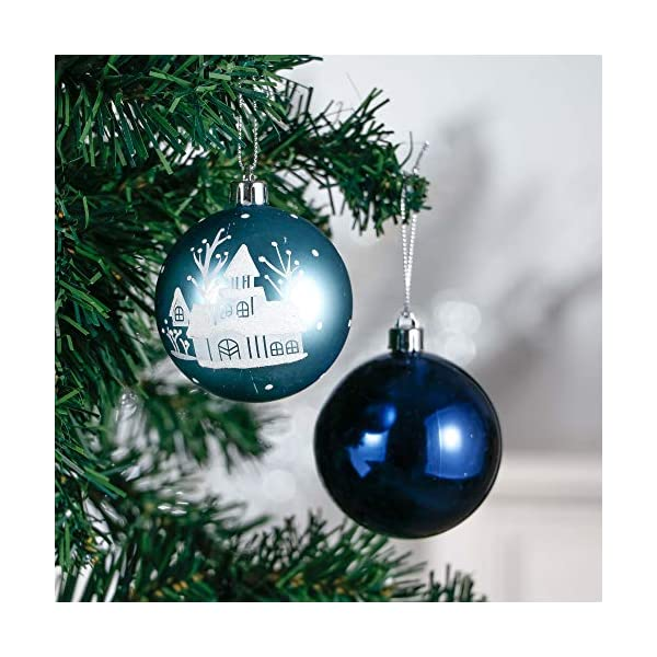Valery Madelyn Palle di Natale 24 Pezzi 7cm Palline di Natale, Auguri Invernali Argento e Blu Infrangibili Ornamenti Palla di Natale Decorazione per la Decorazione Dell'Albero di Natale 4 spesavip