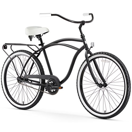 (sixthreezero Around The Block Men's Single Speed Cruiser Bicycle, Matte Black w/ White Seat/Grips, 26