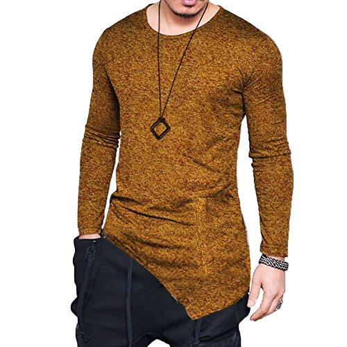 F.Honey Men's Long Sleeve Slim Fit Side Pocket Cowl Neck SWAG Irregular Hem Hipster Hip Hop T-Shirt Blouse (Crew Neck-XL, - Hop Hip 80's Fashion