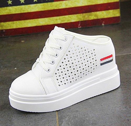 KPHY Permeabilidad Aumento white Hollow Zapatos Aire de Blancos Perezosos El Semi Duro Verano Zapatos Estudiante Zapatillas De El Fondo De Zapatos Al Mujer YwPzrFBYxq