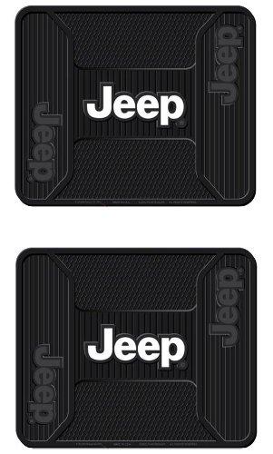 Jeep Logo Series Rear Seat Utility Rubber Floor Mats - PAIR