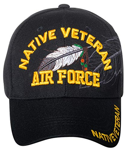 - Native Pride US Air Force Native Veteran Baseball Hat - Armed Forces Military Native American - Embroidered Cap (Air Force)