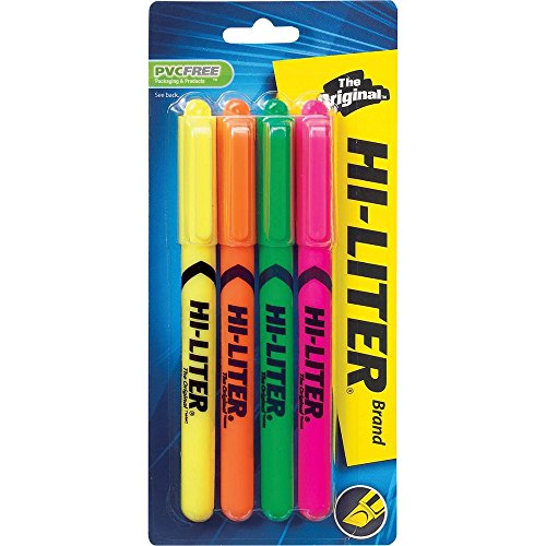 Avery Pen Style Highlighter - Avery 23545 Pen Style Highlighters Chisel Point 4-Color/ST FL AST