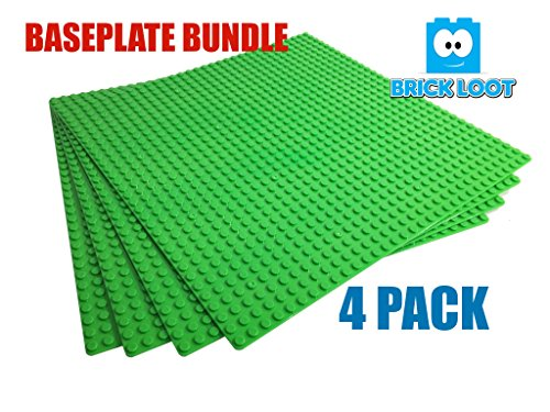 4 Pack Lot AAA+ Color Baseplates 32x32 Dots Grey Blue or Green / Studs 10