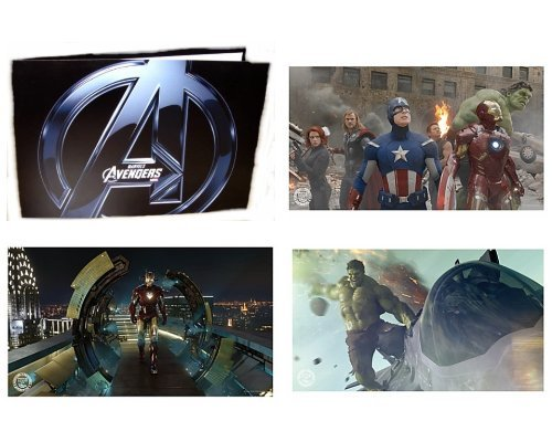 """Disney The Avengers Special Edition Lithograph Set with 4 Lithograph Prints Measuring 10"""" by 14"""" Featuring Iron Man, Hulk, Captain America, and Thor"""