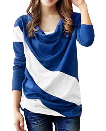 尊敬するええ引数MIOIM® シャツ Tシャツ レディース ゆったり ラウンドネック ドルマンスリーブ カラーマッチング 欧米風 長袖 トップス ブラウス カジュアル 登校 通勤 お出かけ お呼ばれ