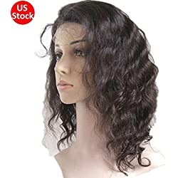 """S-noilite 10 inch Brazilian Virgin Human Hair Lace Front Wig Long Curly Straight Black Hair Women Ladies Costume Full Head Wig (Lace front wig human hair wig, 10"""" Curly)"""