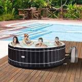 Goplus 4 Person Inflatable Hot Tub Portable Outdoor Spa Bubble Jet Massage Spa w/Accessories Set