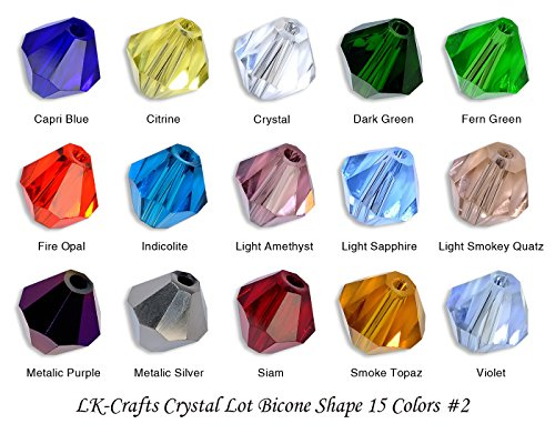 LK-CRAFTS Wholesale Lot 300pcs Bicone ( similar cut #5328/ 5301) 8mm Crystal Beads 15 colors with storage box #2 (Bicone Crystal Beads 5301)