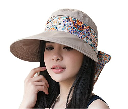 (Roll Up Wide Brim Sun Visor UPF 50+ UV Protection Sun Hat with Neck Protector)