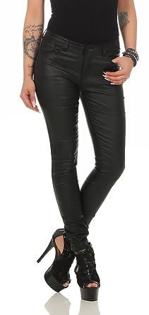 10114 Fashion4Young Damen Röhrenhose Treggings Slimline Leder-Look  Lederimitat Damenhose Wetlook (XS 34 e789b87981
