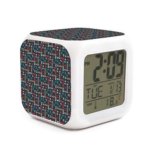 kanidjkd Wake Up New York Design Dimmer Snooze LED Nightlight Bedroom Desk Travel Digital Alarm Clock for Kids Girls