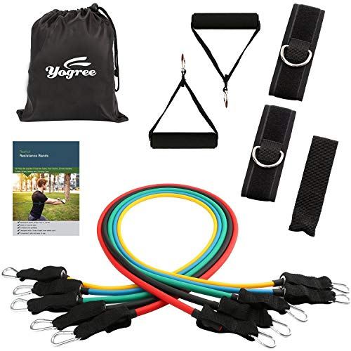 yogree Resistance Band Set - 12 Pack Set Include 5 Stackable Exercise Bands with Carrying Case, Door Anchor Attachment and Legs Ankle Straps - with Exercise Guide Ebook