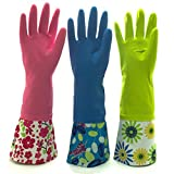 Reusable Waterproof Household Rubber Latex Cleaning Gloves, Long Cuff, Kitchen Gloves. 16 inches Long - Pack of 3 (Medium)