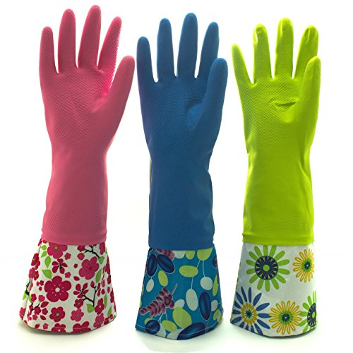Extra Long Rubber Gloves - Reusable Waterproof Household Rubber Latex Cleaning Gloves, Long Cuff, Kitchen Gloves. 16 inches Long - Pack of 3 (Medium)
