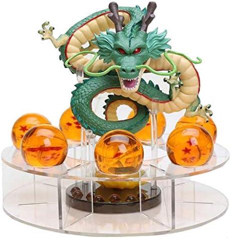 MCS Figura Dragon Shenron PVC Dragon Ball Z (Verde Natural) + 7 Bolas de Dragon 3,5 cm diametro + Estante Expositor DBZ Figura Coleccion Goku Dragon ...