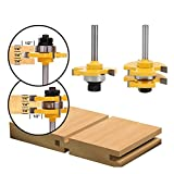 2pcs Router Bit Set 3/4'' Stock 1/4'' Shank 3 Teeth T-shape Wood Milling Cutter Machine for Flooring Wood Working Tools