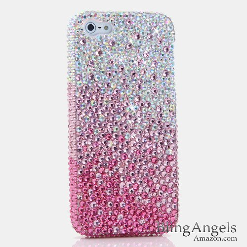Bling iPhone SE, iPhone 5 / 5S Case, LUXADDICTION [Premium Handmade Quality] Luxury Genuine Crystals Rhinestone Protective Diamond Sparkle Cover (Gradient AB Clear Crystals to Hot Pink)