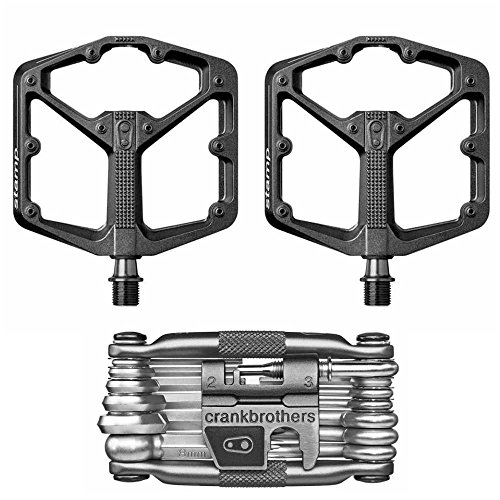 CRANKBROTHERs Crank Brothers Stamp 3 Large Lightweight Bike Pedals Pair (Black) and M19 Bicycle Maintenance Multi-Tool