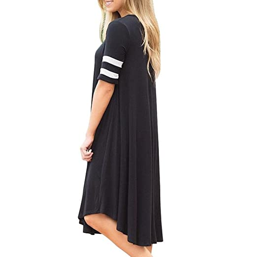 Womens Casual Summer Dress Kanpola Clearance Ladies Round Collar Short Sleeve Wristband Striped Knee Length Dresses: Amazon.co.uk: Kitchen & Home