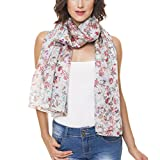 Scarf for Women 100% Silk Summer Fall Wedding Party Event by Melifluos Fashion Large Lightweight Gray Red Green Floral Flower Scarves Scarfs (NS21-4)