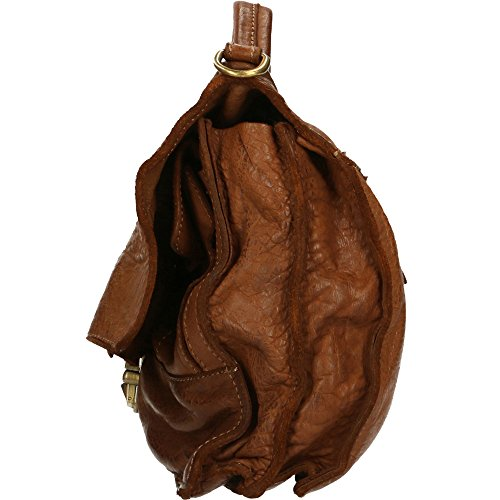 Bolso Hombre Maletín Chicca Borse Vintage en Piel Genuina Made in Italy 30x26x10 Cm marrón