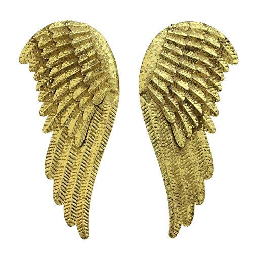 starbluegarden Golden Metal Angel Wings Wall Decor Set of 2