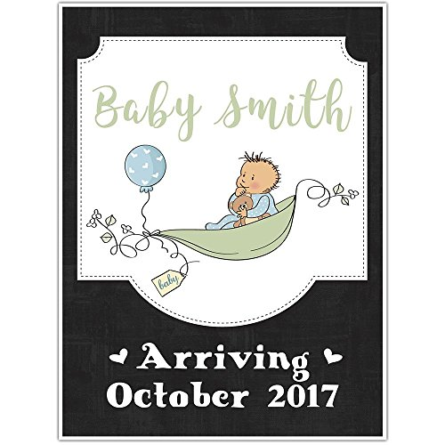 Pea Pod Baby Personalized Pregnancy Announcement Chalkboard Sign Photo Prop Poster