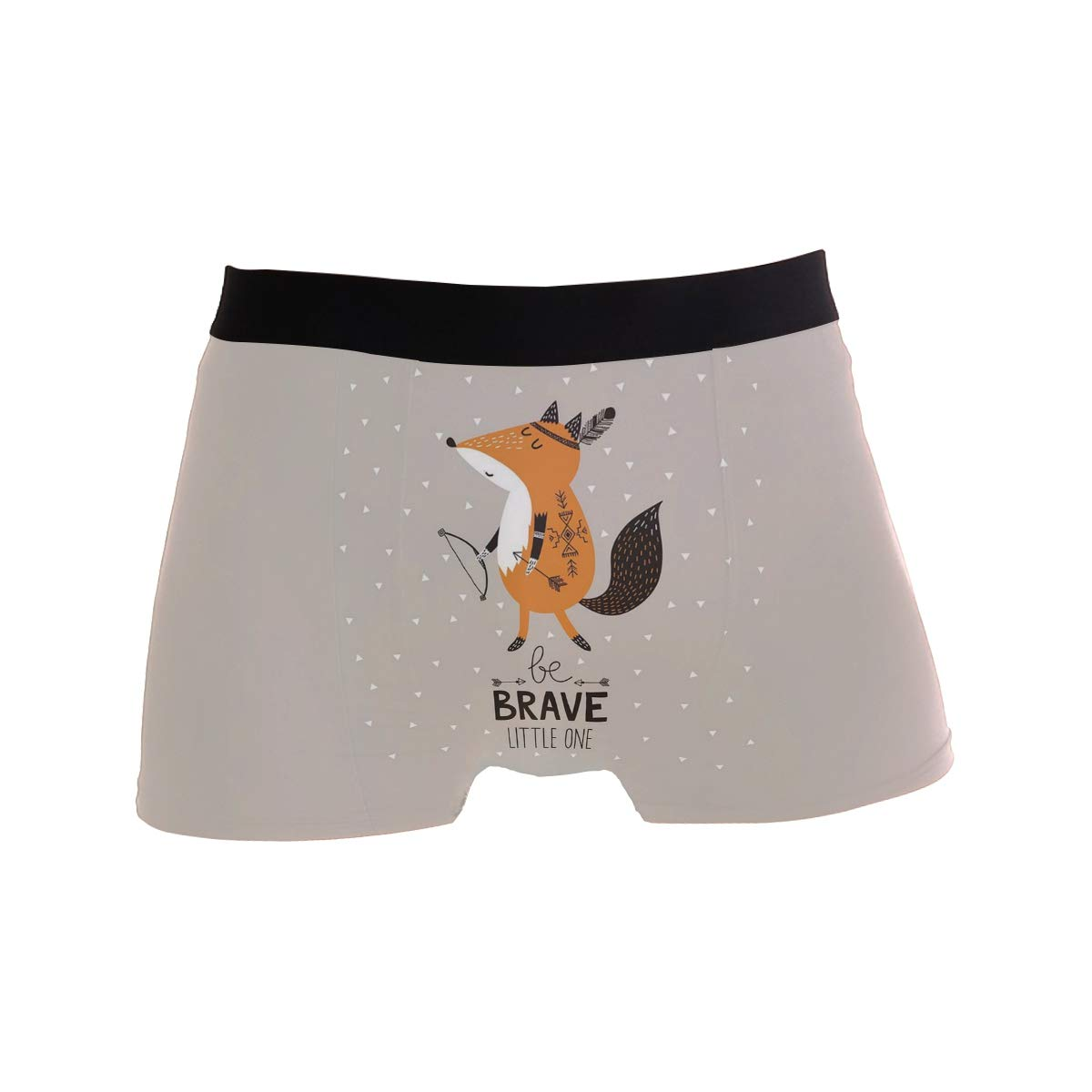 Cartoon Fox Be Brave Quotes Boxer Briefs Mens Underwear Pack Seamless Comfort Soft