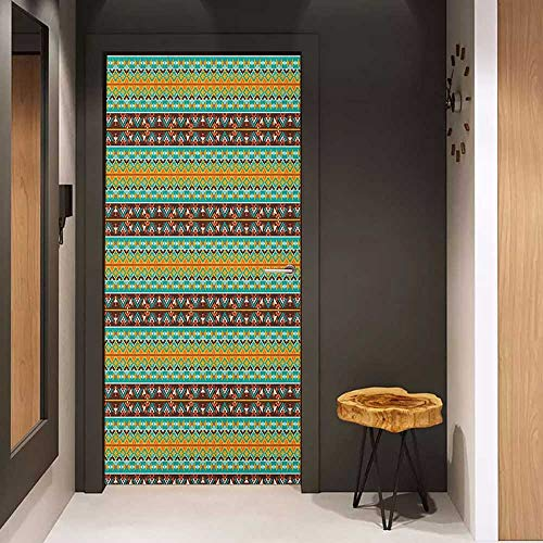 Onefzc Pantry Sticker for Door Native American Retro Style Tribal Aztec Motif Pattern with Geometric Details Sticker Removable Door Decal W38.5 x H79 Brown Marigold Turquoise