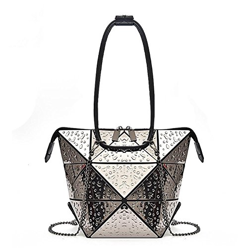Casual Gun Bag Plaid Baobao Colored Bags Tote Shoulder Folded Metallic Women Tote Flat Leegoal Drop Folding Lucent Geometric 1RIqRT8wY0