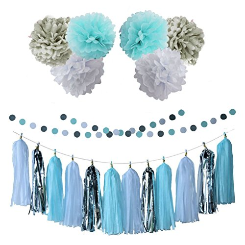 AZOWA 20 Pcs Party Supplies Circle Dot Garland Tissue Paper Pom Poms Blue For Birthday, Wedding Shower, Baby Shower, Engagement Party Decoration Supplies
