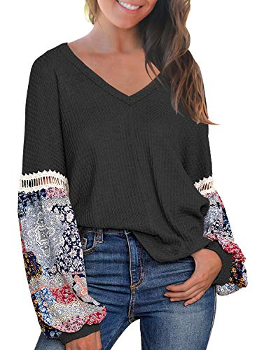 (MIHOLL Womens Loose Blouse Printed Long Sleeve V Neck Shirts Casual Pullover Tops (Small, Black))