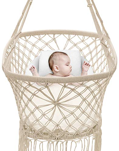 "Sorbus Baby Crib Cradle, Hanging Bassinet and Portable Swing for Baby Nursery, Macramé Rope Fringe Measures 35"" L X 23.25"" W X 14"" H, Weight Capacity 22 pounds (Off White) from Sorbus"