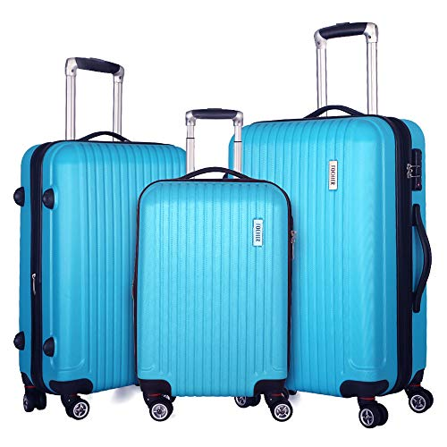 Fochier 3 piece Luggage Sets Expandable Lightweight Spinner Suitcase with TSA Lock