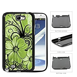 Pretty Floral Abstract Art (GREEN) Samsung Galaxy Note II 2 N7100 Hard Snap on Plastic Cell Phone Cover WANGJING JINDA