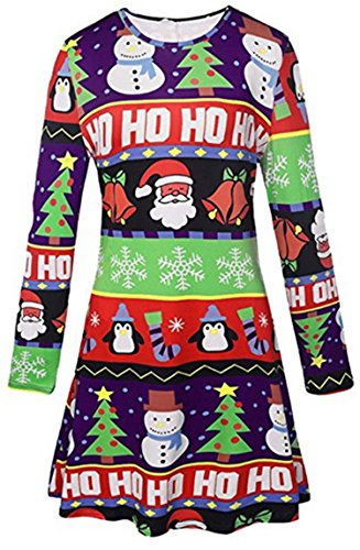 Fshop365 Women Christmas Santa Claus Printed Stretchy Long Sleeve Dress Green S - Thanksgiving Dress