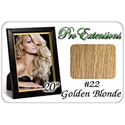 """Pro Extensions 20"""" Body Wave #22 Medium Golden Blonde Clip-in Human Hair Extensions"""