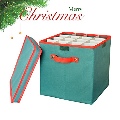 Foldable Christmas Ornament Storage Box, DiDaDi Holiday Xmas Tree Decorations Bin Chest with Lid & Removable Dividers (with 4 Trays Holds Up to 64 Balls) – Green
