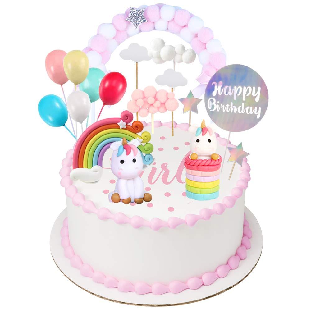 Miss Good Unicorn Cake Topper Cloud Rainbow Star Balloon Cake...